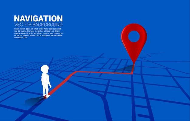 Percorso tra gli indicatori di posizione 3d e il ragazzo sulla mappa stradale della città. illustrazione per infografica sistema di navigazione gps.