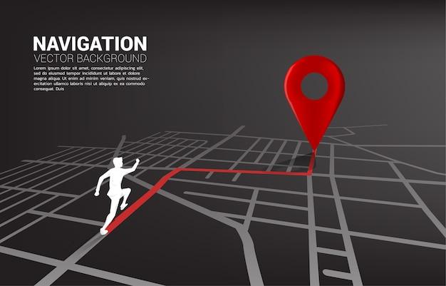 Percorso tra gli indicatori di posizione 3d e l'uomo d'affari sulla mappa stradale della città. concetto per la navigazione gps.