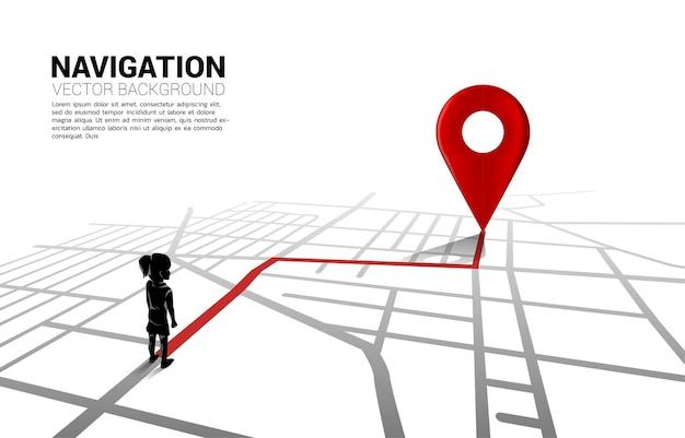 Percorso tra gli indicatori di posizione 3d e la ragazza sulla mappa stradale della città. illustrazione per infografica sistema di navigazione gps.