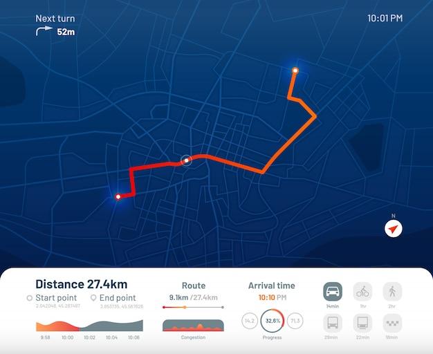 Dashboard del percorso. navigazione della mappa stradale della città, percorsi correnti della città e illustrazione piana di app delle mappe di localizzazione dei gps