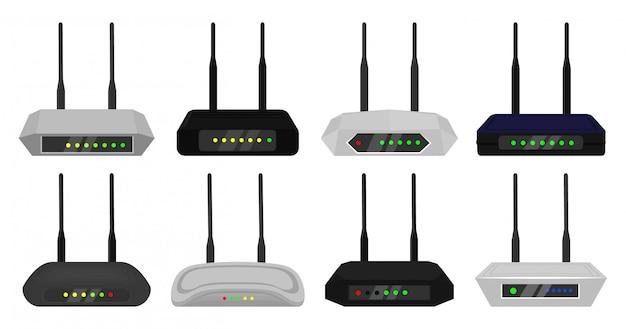 Icona stabilita del fumetto del router. modem illustrazione su sfondo bianco. cartoon set router icona.
