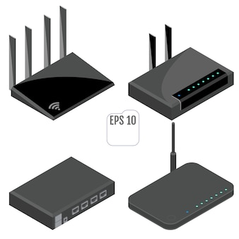 Set di icone isometriche del router. isolato