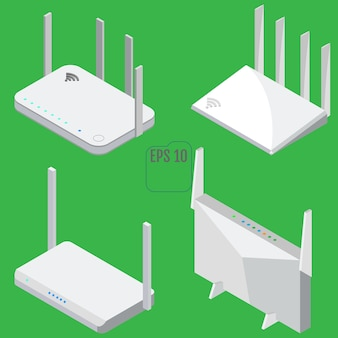 Set di icone isometriche del router. set di icone del router wifi per il web design. isolato