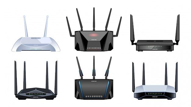 Icona realistica del router. illustrazione modem internet su sfondo bianco. router icona set realistico.