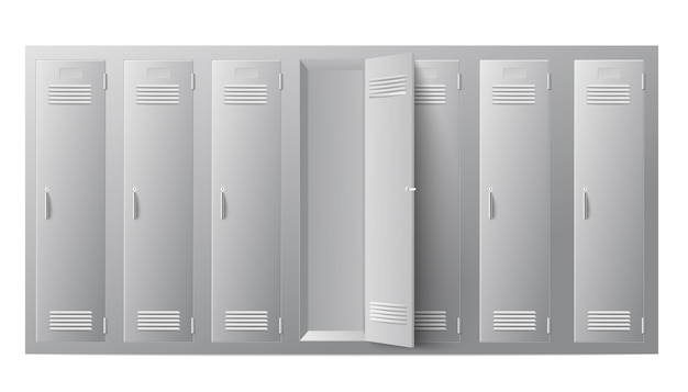 Fila armadietti in metallo per scuola o palestra con porte chiuse e aperte