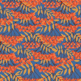 Bacche di sorbo rami e foglie di fondo senza cuciture con bacche rosse disegnate a mano astratto semplice...