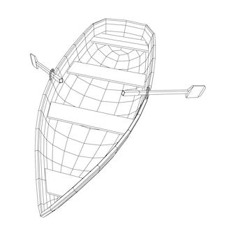 Barca a remi con pagaie. illustrazione vettoriale di wireframe low poly mesh