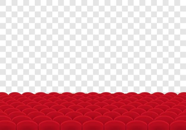 File di sedili rossi su trasparente.