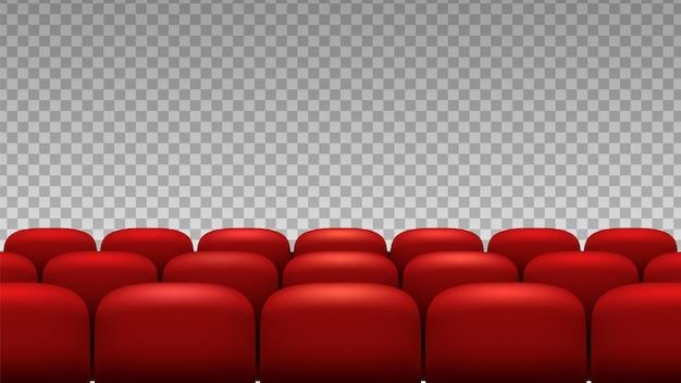 File di sedili. sedili dell'opera di film del teatro rosso isolati su sfondo trasparente.
