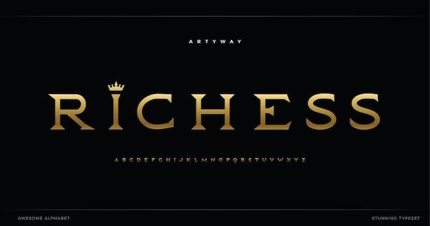Alfabeto reale serif vintage stupendo carattere minimalista per il titolo del logo regale retrò dorato