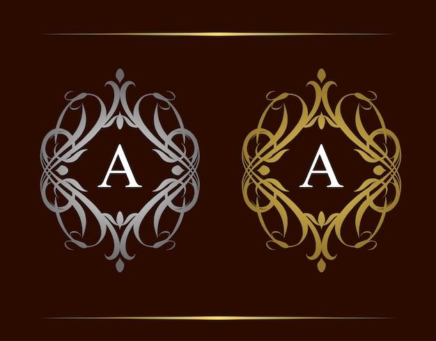 Royal badge una lettera logo. emblema vintage di lusso con bellissimo ornamento floreale di classe. cornice d'epoca.