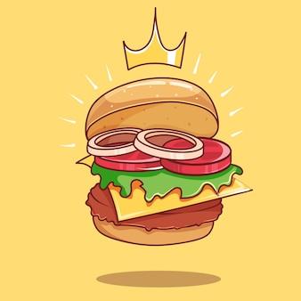 Illustrazione dell'icona di vettore del fumetto di grande hamburger aperto reale