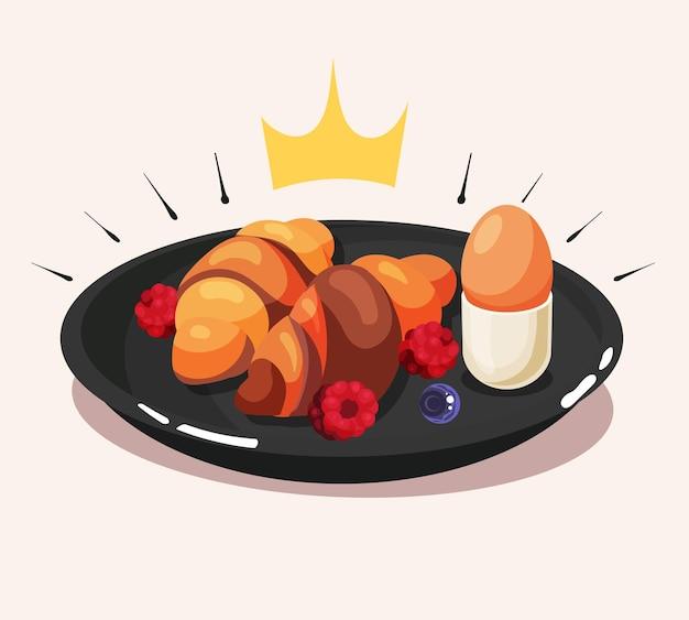 Colazione reale con croissant, uova e bacche, cartone animato, icona, vettore, illustration