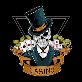 Teschio di giocatore d'azzardo casinò reale