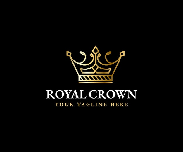 Corona reale re regina logo modello corona maestosa e sagoma di diadema di lusso per marchi vip