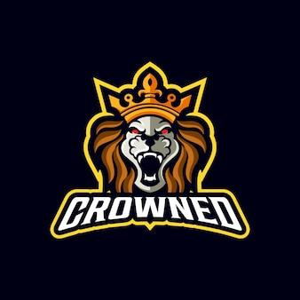 Modello di logo della mascotte sportiva degli animali forti del leone della corona reale