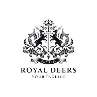 Modello di logo royal deer crest