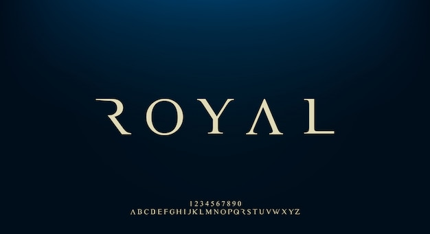Royal, un elegante carattere alfabeto sans serif con tema premium. moderno design tipografico minimalista