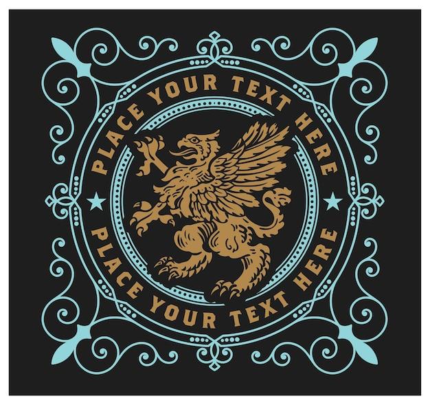 Emblema reale con animale mitico