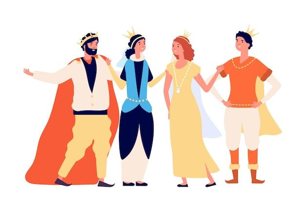 La famiglia reale. principe e principessa regina re dei cartoni animati. uomini donne isolati in abiti medievali, troupe teatrali di recitazione