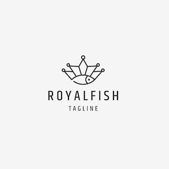 Pesce reale con modello di progettazione del logo in stile linea