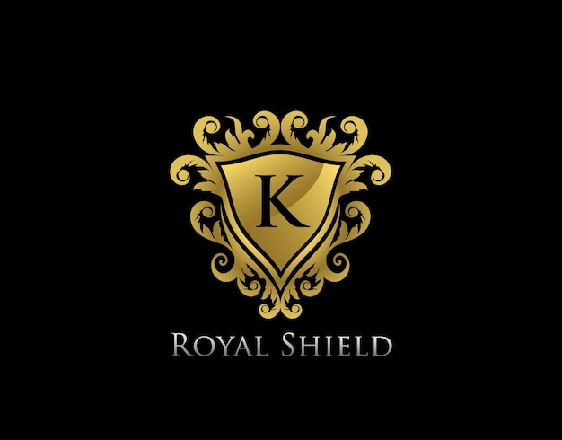 Modello di logo della cresta della lettera k del re oro reale