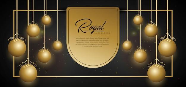 Modello di sfondo dorato reale Vettore Premium