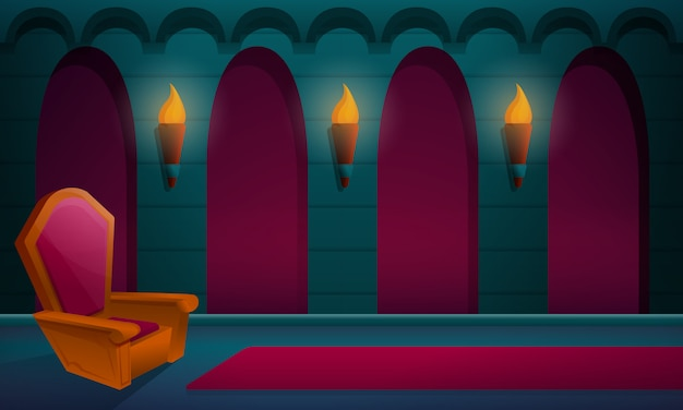 Sala reale nel castello con il trono, illustrazione