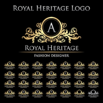 Royal heritage logo icon con set di alfabeto