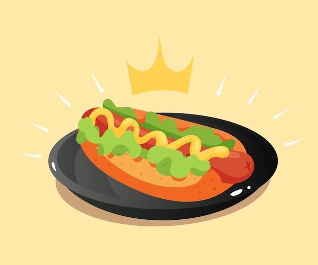 Illustrazione dell'icona di vettore del fumetto del hot dog reale
