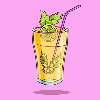 Illustrazione reale dell'icona di vettore del fumetto della limonata del mojito