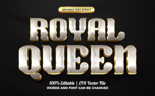 Modello di stile effetto testo modificabile 3d di lusso in oro bianco della regina reale