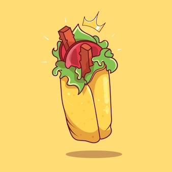 Illustrazione dell'icona di vettore del fumetto di kebab di shawarma reale