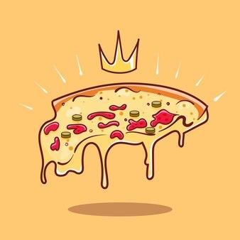 Fetta reale di pizza con l'allungamento dell'icona di vettore del fumetto del formaggio