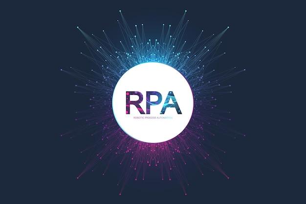 Rpa automatizzazione del processo robotico. concetto futuristico del modello dell'insegna rpa. innovazione tecnologica. intelligenza artificiale. illustrazione vettoriale rpa