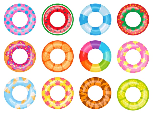 Anello da nuoto in gomma. salvagente rosa, anelli galleggianti per piscina estiva. insieme dell'illustrazione del fumetto di vista superiore dell'anello di salvataggio dell'arcobaleno.