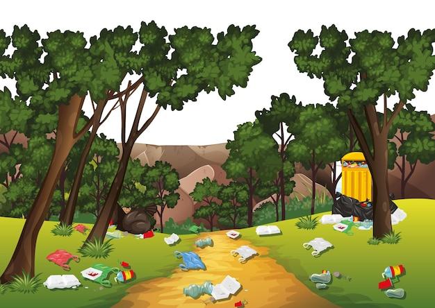Immondizia nella scena del parco