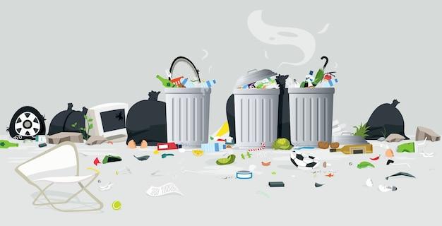 La spazzatura che cade fuori dal cestino contiene uno sfondo grigio
