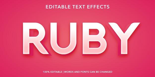 Effetto di testo modificabile rubino