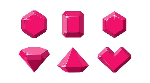 Gemme rubino di diverse forme. cristalli di rubino rosso isolati in sfondo bianco