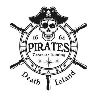 Ruota del timone con emblema del teschio pirata in stile vintage isolato su bianco