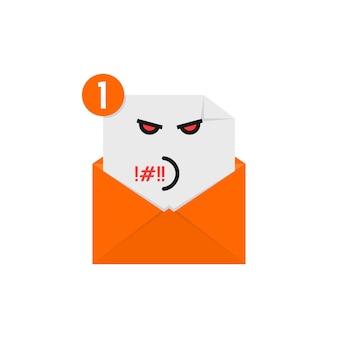 Emoji maleducato nella notifica della lettera arancione. concetto di newsletter, spam, e-mail negativa, umore, comunicazione, offesa, litigio, furioso. design grafico del logo moderno di tendenza in stile piatto su sfondo bianco