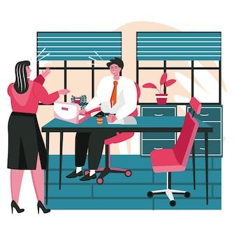 Maleducazione in un concetto di scena del team aziendale. la donna di affari urla al collega. i dipendenti discutono in modo aggressivo. attività di persone di lavoro d'ufficio di stress. illustrazione vettoriale di personaggi in design piatto