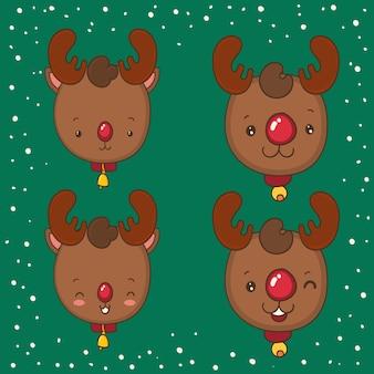 Rudolph e cervi sorridenti. emoticon di natale