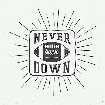 Pallone da rugby o football americano con tipografia. illustrazione vettoriale con scritte