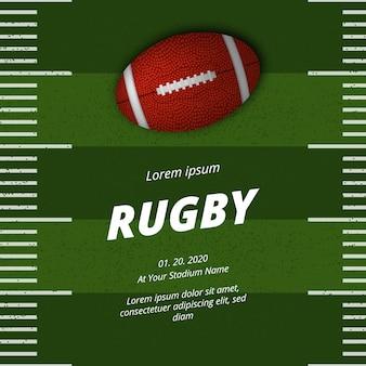 Annuncio del manifesto della concorrenza della lega sportiva di football americano o di rugby con vista dall'alto della palla ovale 3d realistica sul cortile del campo di erba verde