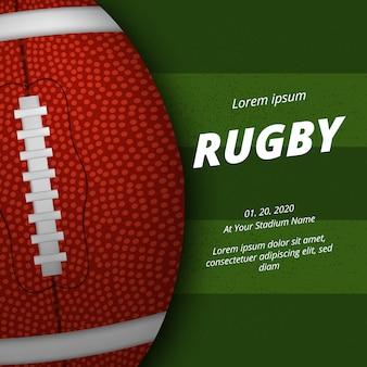 Annuncio del manifesto della concorrenza della lega sportiva di football americano o di rugby con vista dall'alto della palla ovale 3d realistica sul campo di erba verde