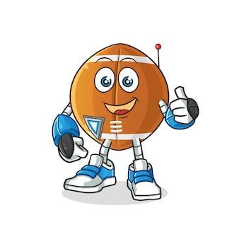 Personaggio dei cartoni animati di robot palla da rugby