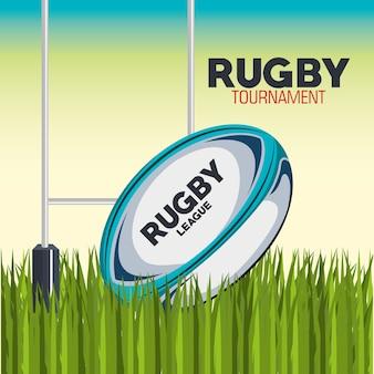 Pallone da rugby con design field e post goal