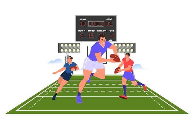 Giocatore di rugby in esecuzione con una palla. allenamento del giocatore di rugby.